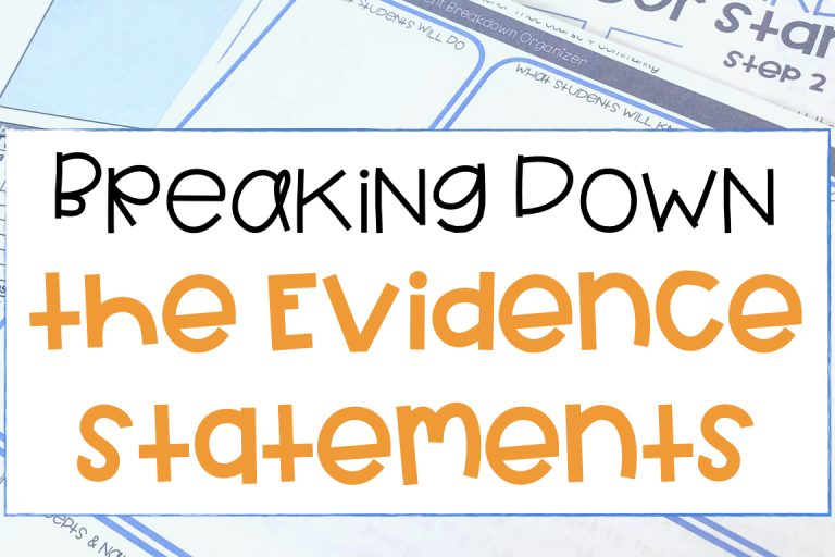 How To Use The NGSS Evidence Statements