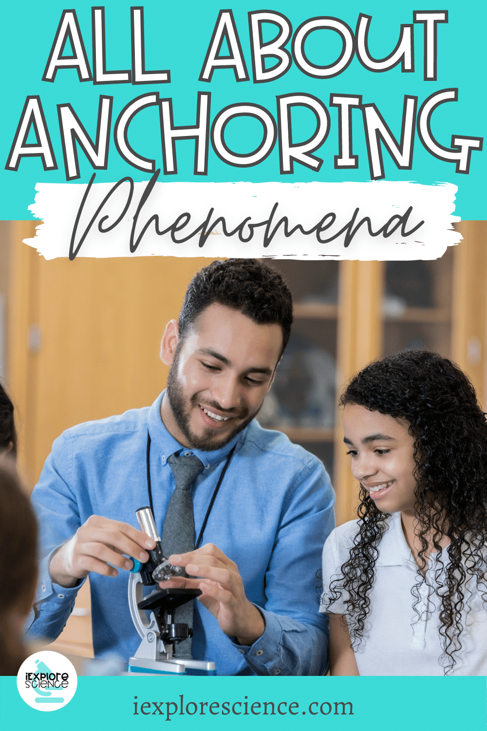 Using anchoring phenomena pin showing middle school science classroom
