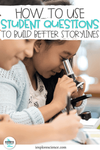 """Students Looking at a Microscope with the Text """"How to use student questions to build better storylines"""""""
